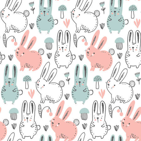 Vector seamless pattern with hand drawn forest rabbits, hare, flowers, mushrooms on the white background. Illustration for cards, invitations, baby shower, preschool and children room decoration