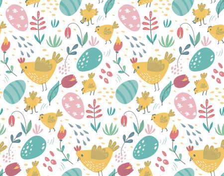 Patrón transparente de vector con conejos, pollo y flores. Primavera de fondo sin fin de Pascua con conejitos de dibujos animados, pájaros, huevos y plantas