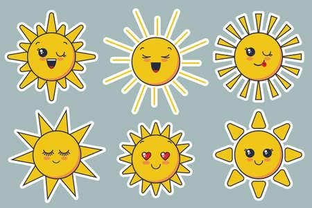 cute smiling sun faces for child design