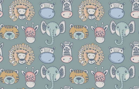 Seamless pattern with cute animals. Vector hand drawn endless illustration for baby and children design.