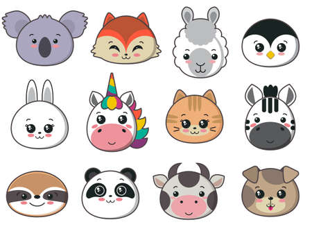 collection of cute animal faces, big icon set for baby design
