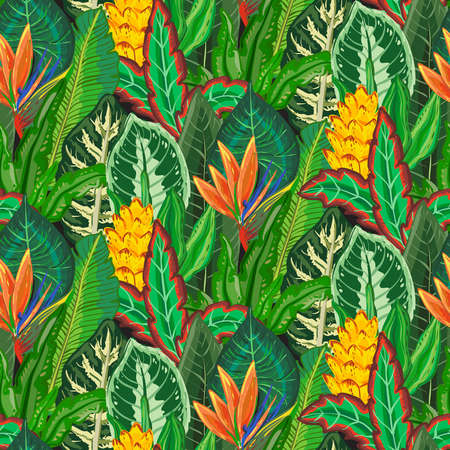 seamless pattern with tropical palm leaves, jungle plants, exotic flowers.