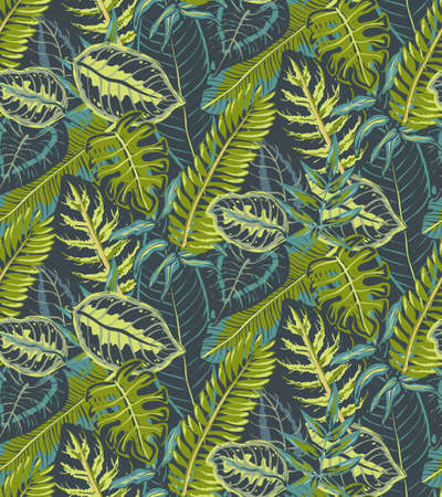 seamless pattern with tropical palm leaves, jungle plants.