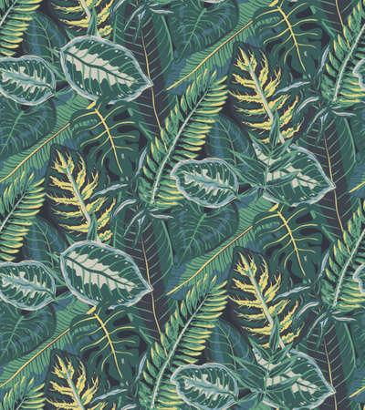 Patrón transparente de vector con hojas de palmeras tropicales, plantas de la selva. Fondo natural sin fin