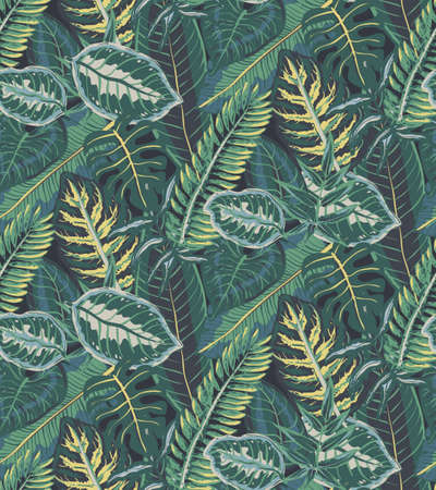 Vector seamless pattern with tropical palm leaves, jungle plants. Endless natural background