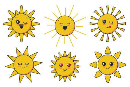 smiling sun faces for child design Ilustração