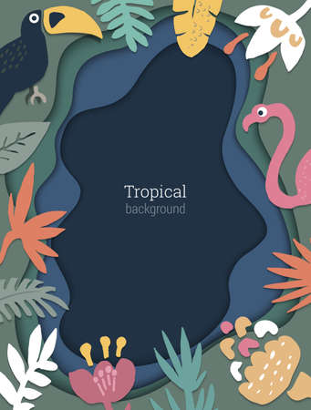 Beautiful vector background with tropical leaves and birds on volumetric 3D backdrop with imitation of multilayer cut paper Ilustração