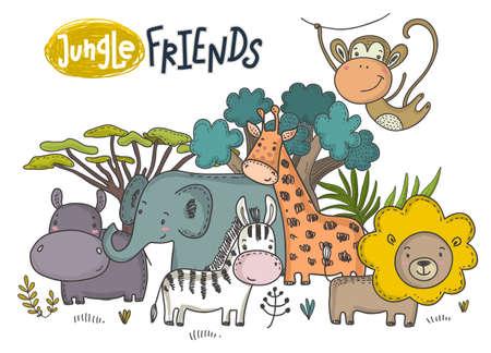 Ilustración de vector de dibujos animados de animales africanos. León, hipopótamo, jirafa, rinoceronte, mono, perezoso, cebra y árboles tropicales dibujados a mano de la selva colorida sobre fondo blanco