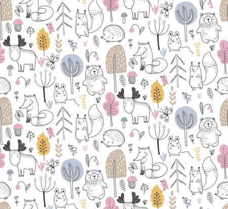 Reticolo senza giunte con gli animali della foresta selvaggia disegnati a mano, alberi, fiori, funghi su fondo bianco. Illustrazione per biglietti, inviti, baby shower, scuola materna e decorazione della camera dei bambini