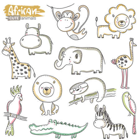 Vector set of cartoon African animals. Colorful jungle hand drawn lion, crocodile, hippo, giraffe, rhino, parrot, monkey, sloth, febra isolated on white background Çizim