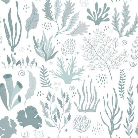 Vector seamless pattern with underwater ocean coral reef plants