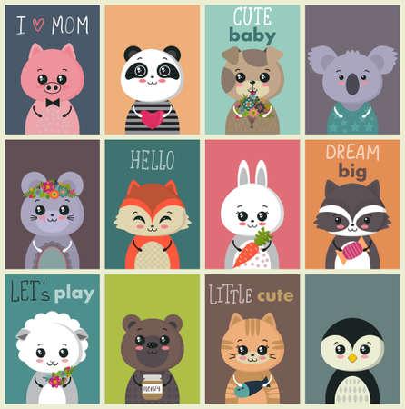 Collection de vecteur de cartes de bébé mignon. Personnages animaux drôles et colorés.