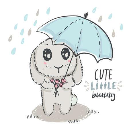 Vector hand drawn cute rabbit with umbrella. Иллюстрация