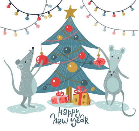 Vector greeting card with cute mice under Christmas tree. Stock Illustratie