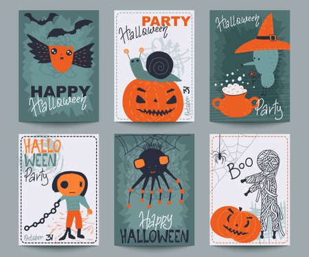 Set of six Halloween posters or greeting card with cute holiday simbols, Stock Illustratie