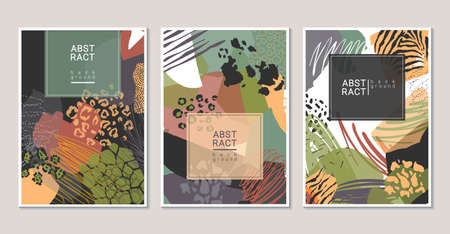Vector collection of trendy creative collage cards with cut paper, animal skin and different textures. 向量圖像