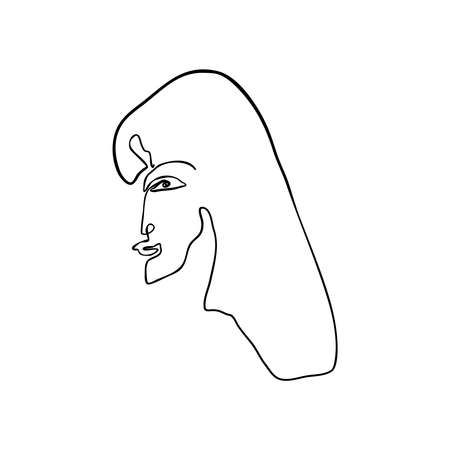 Vector illustration of woman face drawn in black continuous line