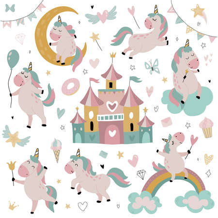 Vector collection of cute little unicorns, rainbow, stars fairy castle. Magical set for children design. Ilustrace