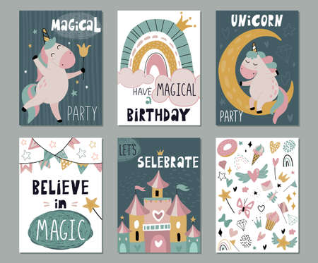 Set of vector greeting cards or invitations for birthday, baby shower with cute unicorn, fairy castle, rainbow, funny font. Template for children design. Ilustracja