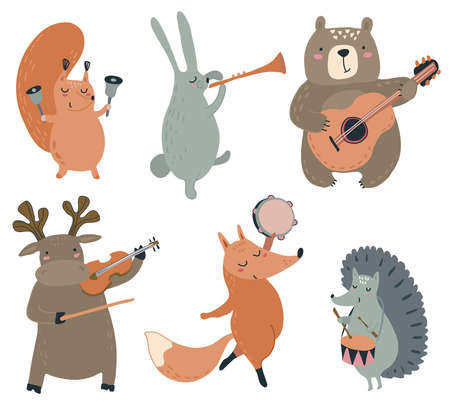 Colección de vectores de animales del bosque salvaje dibujados a mano fliyng en globos. Linda ilustración para tarjetas de felicitación, invitaciones, preescolar y decoración de la habitación de los niños Ilustración de vector