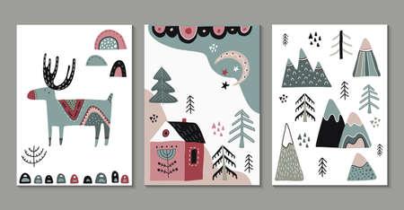 Vector set of greeting cards, posters in scandinavian style. Ilustración de vector