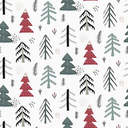 Vector Christmas seamless pattern in scandinavian style. Ilustração Vetorial