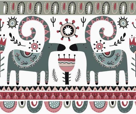 Vector Christmas seamless pattern in scandinavian style. Vektoros illusztráció