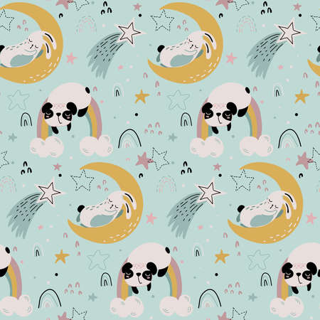 Vector seamless pattern with cute animals fliyng and sleeping on moon and rainbow. Colorful night endless background for textile, wrapping paper, invitations, preschool and children room decoration