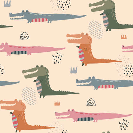 Vector seamless pattern with cute funny crocodiles in abstract scandinavian style. Colorful endless background for textile, wrapping paper, invitations, preschool and children room decoration