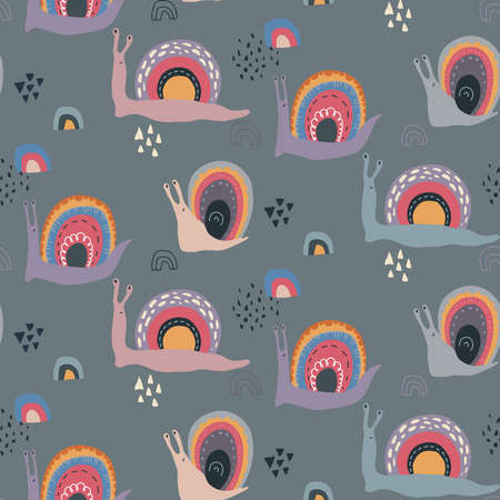 Vector seamless pattern with cute funny rainbow snails in abstract scandinavian style.