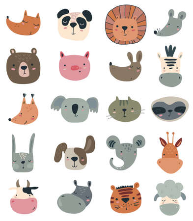Vector collection of cute hand drawn animal faces in simple scandinavian style. Big icon set for baby design Stock Illustratie