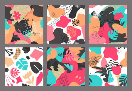 Set of vector colorful collage contemporary natural seamless patterns. Modern abstract shapes, hand drawn textures, cut out paper and plants.