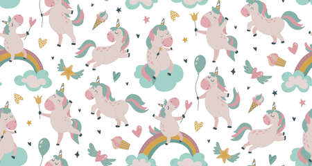 Vector seamless pattern with cute unicorns, clouds, rainbow, stars.
