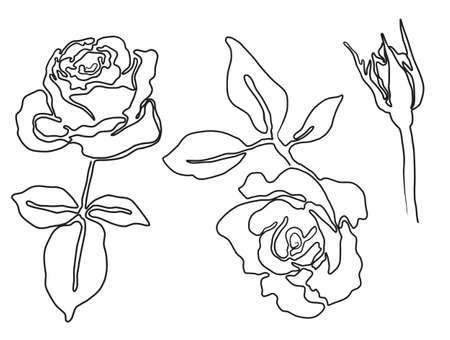 Vektorsammlung von schönen Rosenblüten, die in schwarzer durchgehender Linie im trendigen, modernen Minimalismus-Abstrakt-Stil gezeichnet sind.