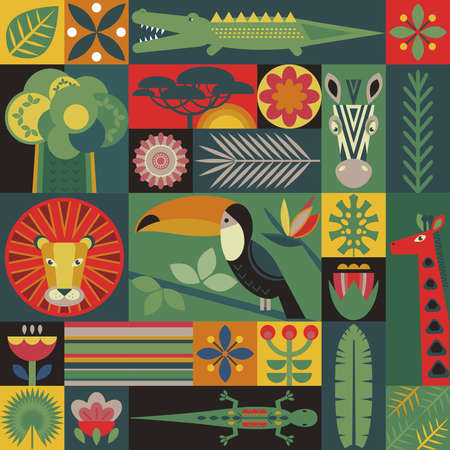 Vector seamless pattern with geometric cartoon African animals, jungle plants and trees. Patchwork mosaic design. Иллюстрация