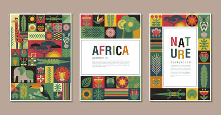 Vector collection of trendy creative cards with patchwork mosaic design. Geometric cartoon African animals