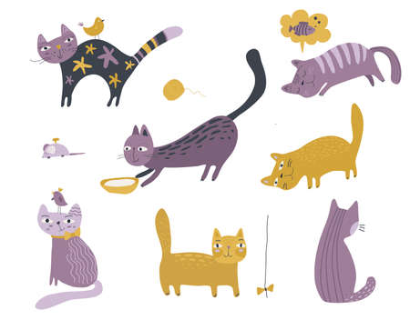 Vector collection of cute cats in simple flat style. Creative childish set for baby design Illustration