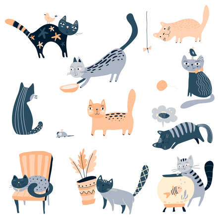 Vector collection of cute cats in simple flat style. Creative childish set for baby design Иллюстрация