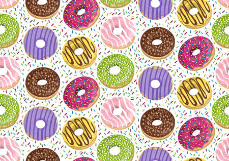 Vector seamless pattern with colorful donuts. Glaze, sprinkle and chocolate donuts with hand drawn texture.