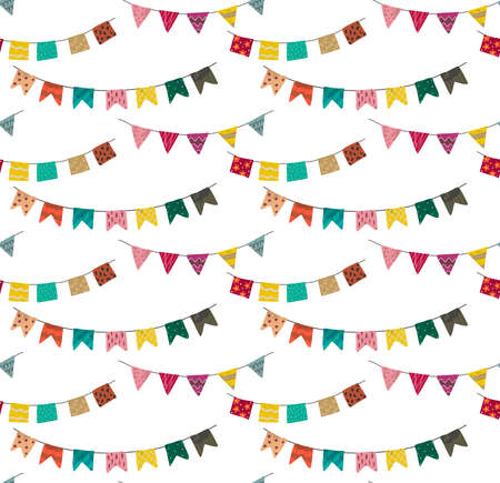 Vector seamless pattern with bright flag garland with hand drawn texture. Carnaval colorful endless background.