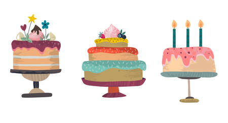 Vector set of Birthday party celebration cakes. Collection of three delicious beautiful sweet baked cakes with glaze isolated on white. 矢量图像