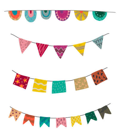 Vector set of colorful graphic bunting and garland with hand drawn texture isolated on white