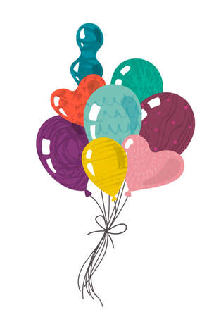 Vector group of doodle balloons with hand drawn texture. Festive holiday or Birthday illustration for kids design, greeting card, invitation 일러스트