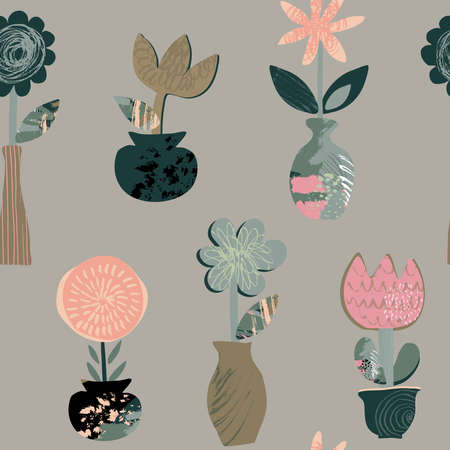 Vector seamless pattern with flowers in pots and hand drawn texture. Trendy abstract design.