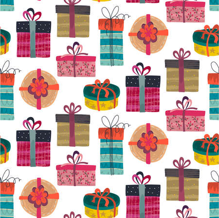 Vector seamless pattern with colorful gift boxes with different hand drawn textures. 版權商用圖片 - 149204317