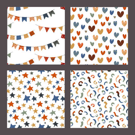 Collection of vector colorful abstract holiday seamless pattern. Stars, flag garland, confetti, heart with hand drawn texture. Birthday festival abstract background. 向量圖像