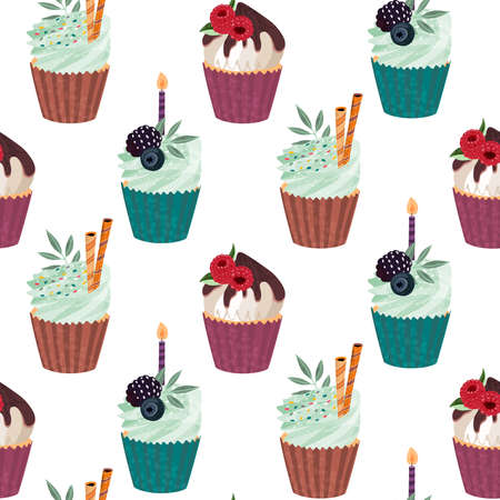 Vector seamless pattern with delicious cupcakes and sprinkles muffins with berries. Beautiful endless background with hand drawn texture 版權商用圖片 - 149204320