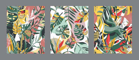 Vector collection of trendy creative summer seamless patterns with floral exotic tropical elements, palm leaves in graphic abstract style. 版權商用圖片 - 149204321