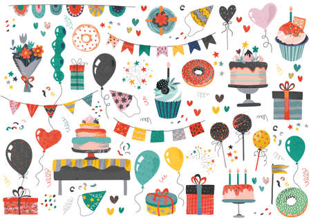 Vector Happy Birthday party elements set - holiday cake, presents, gifts, muffins, cupcakes, balloons, hat, decor. Beautiful colorful festive illustration
