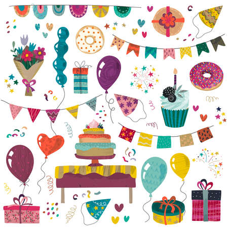 Vector Happy Birthday party elements set - holiday cake, presents, gifts, muffins, cupcakes, balloons, hat, decor. Beautiful colorful festive illustration 版權商用圖片 - 150099162